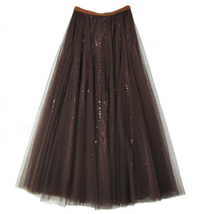 Sequined Gauze Skirt
