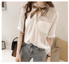 Stripe Tie Half Sleeve Shirt - korean clothing and fashion