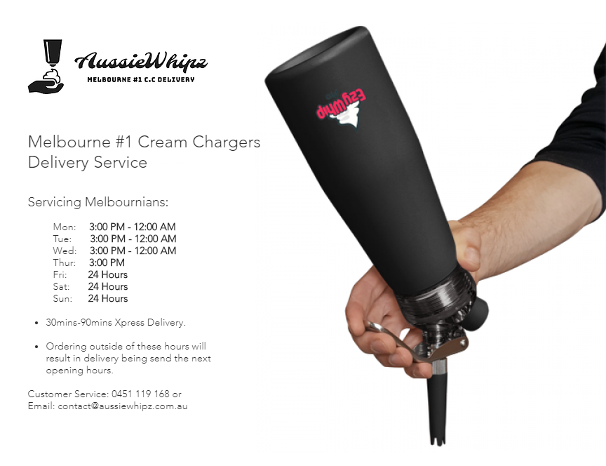 AussieWhipz is Melbourne's #1 Cream Chargers Delivery Service. Fastest and Cheapest MOSA Cream Chargers, Ezywhip Cream Whipper and more. Live GPS Tracking. Nangs Delivery Melbourne - Open 7 Days, 24h Weekends - 0451119168.  Whip chargers. Nang delivery