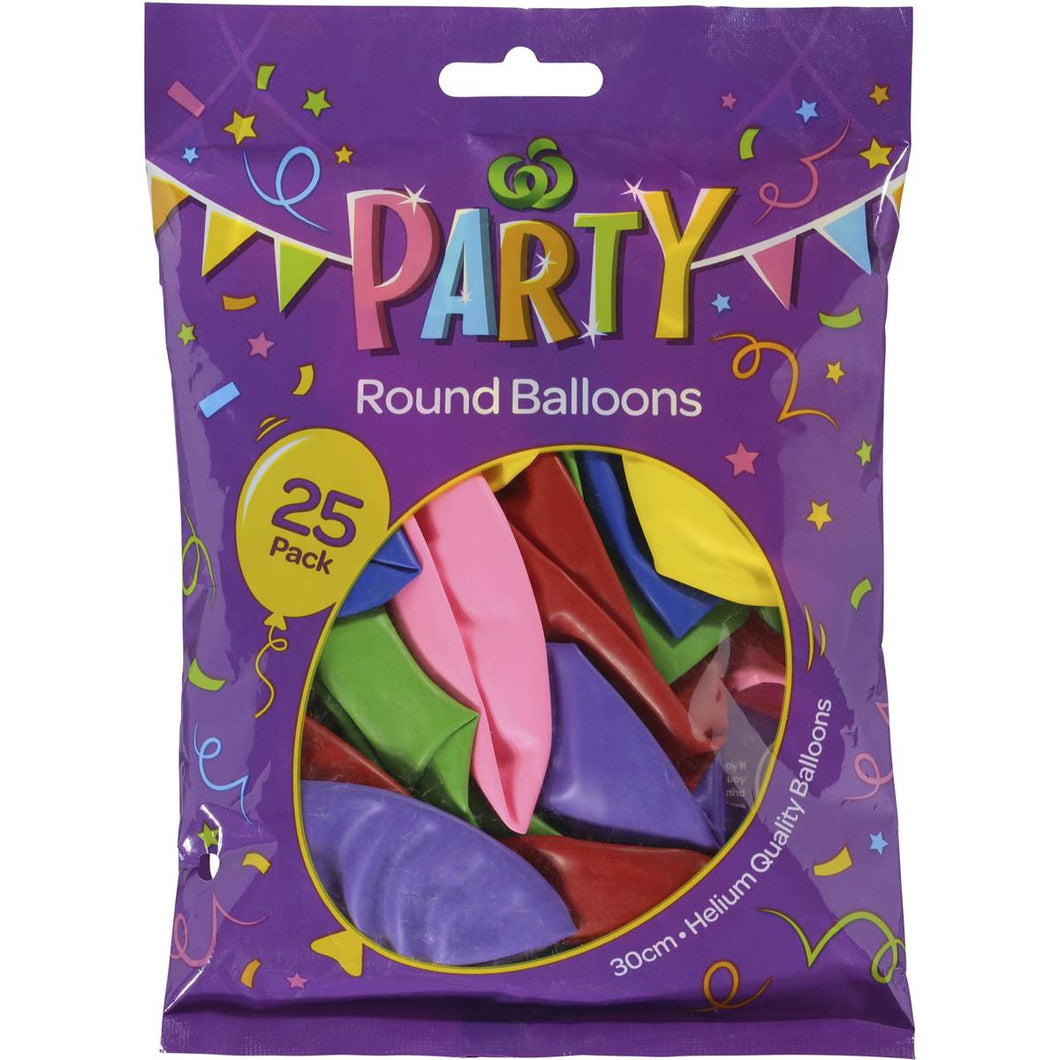 Party Balloons Assorted Colours 30cm 25pk