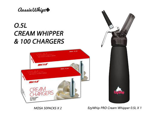 Ezywhip PRO Cream Whipper 0.5L & MOSA 100 Chargers and more