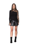 Black Sheep Leather Skirt - Black