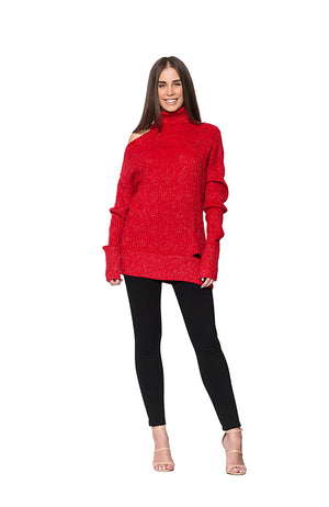 KNIT W LUREX THREAD - RED