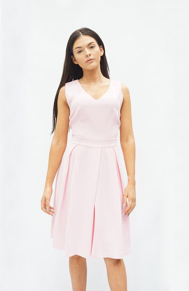 PLEATED V NECK DRESS