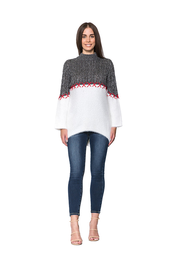 CRISS CROSS PAT JUMPER - CHAR/WHITE