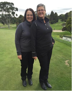 Carolyn and Yvonne from Kew Golf Club both sporting LACD Stretchlite Microfibre Half Zips.
