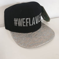 We Flawless Bling Sparkles Glitter Snapback Hat Black and Silver One Size