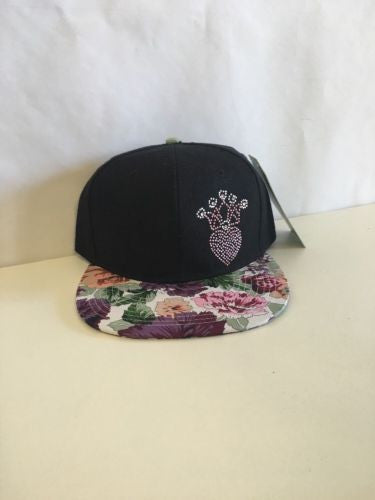 Pink Heart Rhinestone Floral Snapback Hat White Brim Multi-Color and One Size