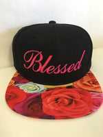 Pink Blessed Roses Multi Color Snapback Hat Black Cap One Size