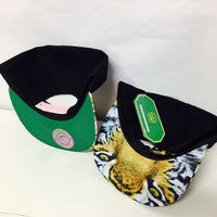 Beauty And Beast Snapback Hat Black and White One Size Pink Floral And Tiger
