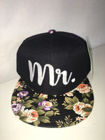 Mr And Mrs SnapBack Wedding Gift Anniversary Newlyweds  Hat Black and Floral