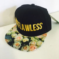 We Flawless Floral Roses With Gold Snapback Hat Black and Silver One Size