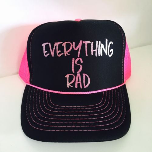Everything Is Rad Snapback Hat Black and Glitter Sparkle Pink Lettering One Size