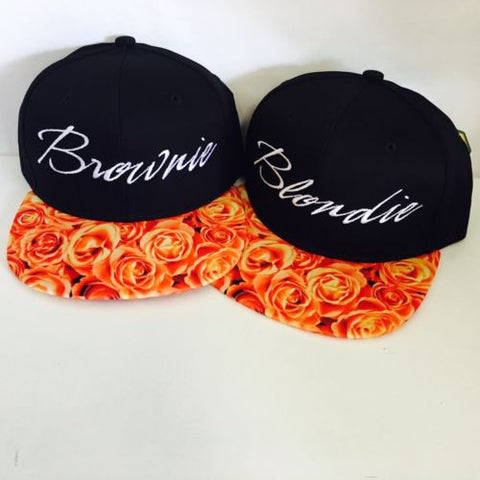 Blonde And Brunette Blondie And Brownie Snapback Hat Black and White One Size