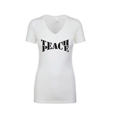 Teach Peace White Tee World Peace Teacher Shirt V-neck T-shirt