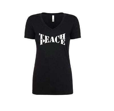 Teach Peace World Peace Teacher Shirt V-neck T-shirt