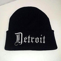 Detroit Hat Custom Embroidery Beanie Skull Cap Knit Knitted Black White