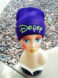 Dopey Seven Dwarfs Hat Custom Embroidery Beanie Knit Knitted Black White