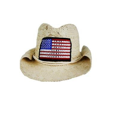 Ladies Bling Studs American Flag Straw Structured Western Cowboy Hat Black