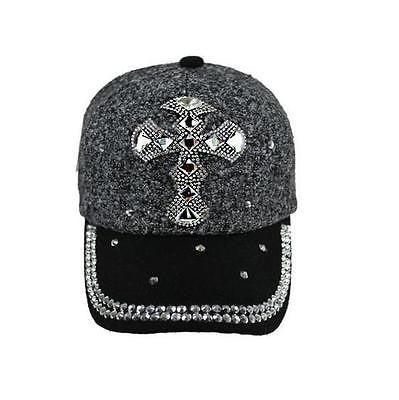 Black And Grey Cross Bling Ladies Cap