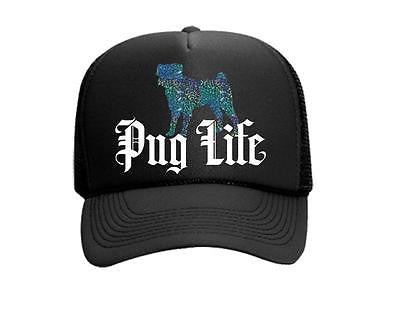 Pug Life Teal White and Black Trucker Hat Snapback Dog Lover