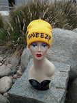 Sneezy Seven Dwarfs Hat Custom Embroidery Beanie Knit Knitted Black White
