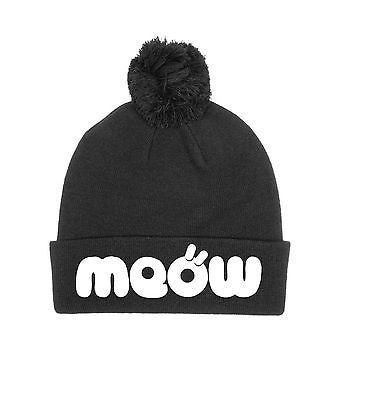 Meow Beanie Kitty Cat Kitten Knit Pom Hat Black and White Multi-Color One Size
