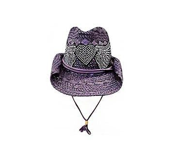 Ladies Bling Studs Heart and Wings Straw Structured Western Cowboy Hat  Purple a52426e678e0