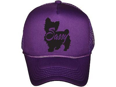 Yorkie Sassy Yorkshire Terrier Purple and Black Trucker Hat Snapback Dog Lover