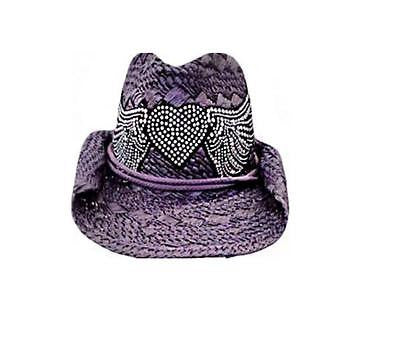 Ladies Bling Studs Heart and Wings Straw Structured Western Cowboy Hat Purple