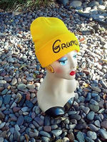 Grumpy Seven Dwarfs Hat Custom Embroidery Beanie Knit Knitted Black White