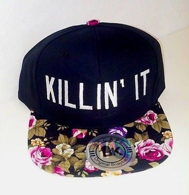 Killin it Floral Snapback Hat Black and White Multi-Color One Size