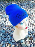 Sleepy Seven Dwarfs Hat Custom Embroidery Beanie Knit Knitted Black White