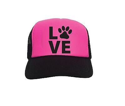 Love Paw Pink and Black Trucker Hat Snapback Dog Lover