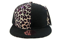 Purple Leopard Flat Bill Snapback hat Baseball cap Hip-hop hat Black + leopard
