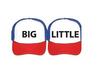 Big and Little Red White Blue and Black Trucker Hat Snapback College Sorority