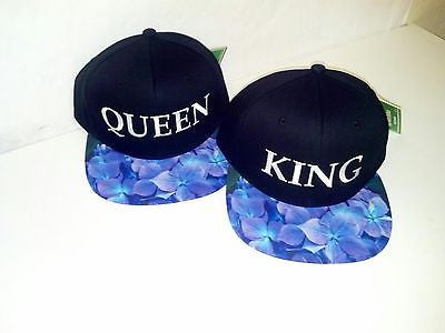 King and Queen Snapback Hat Black and Blue, Purple, Black Floral One Size