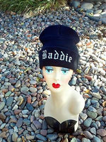 Baddie Hat Custom Embroidery Beanie Skull Cap Knit Knitted Black White