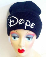 Dope Hat Custom Embroidery Beanie Skull Cap Knit Knitted Black White