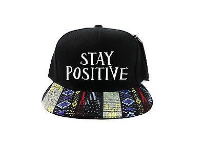 Stay Positive Snapback Hat Black and White with Blue Pink Tan Aztec One Size