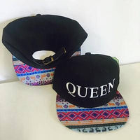 King and Queen Snapback Hat Black and White with Blue Pink Aztec One Size
