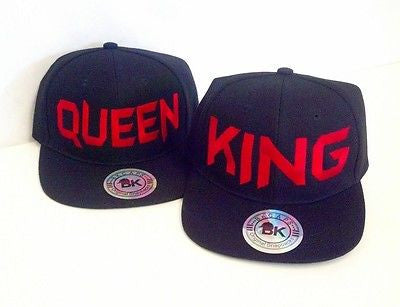 King and Queen Snapback Hat Black and Red One Size