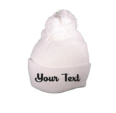 Personalized Throwback White Beanie Skull Cap Pom Custom Embroidery Your Print
