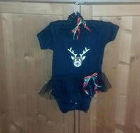 Black Baby Onesie with Tutu Christmas Raindeer and Headband Set 12 Month