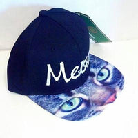 Meow Cursive Kitty Cat Kitten Snapback Hat Black and White Multi-Color One Size