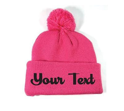 Personalized Throwback Pink Beanie Skull Cap Pom Custom Embroidery Your Print