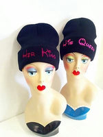 His Queen Her King Knit Hat Beanie Black and Pink Multi-Color One Size