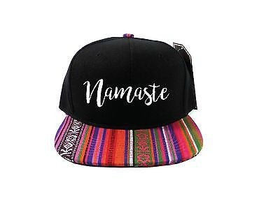 Namaste Snapback Hat Black and White with Blue Pink Tan Aztec One Size