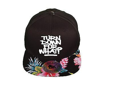 Turn Down for What Snapback Hat Hawaiian Print Red and black Hat Adjustable