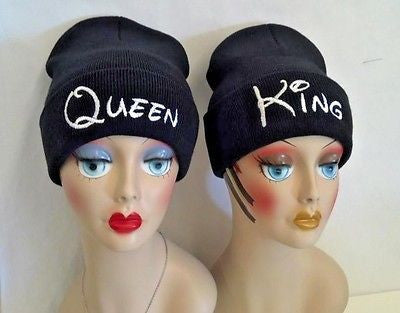 Queen & King Knit Hat Beanie Black and Pink Multi-Color One Size